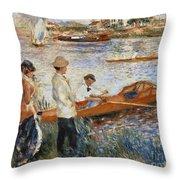 Oarsmen At Chatou Throw Pillow by Pierre Auguste Renoir