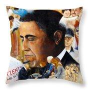 Obama's Full Plate Throw Pillow by Leonardo Ruggieri