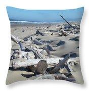 Ocean Coastal art prints Driftwood Beach Throw Pillow by Baslee Troutman