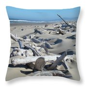 Ocean Coastal Art Prints Driftwood Beach Throw Pillow by Baslee Troutman