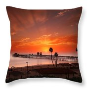 Oceanside Sunset 9 Throw Pillow by Larry Marshall