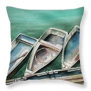 Ogunquit Maine Skiffs Throw Pillow by Brenda Owen