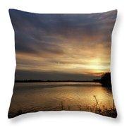 Ohio River Sunset Throw Pillow by Sandy Keeton