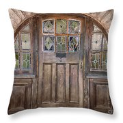 Old Archway And Door Throw Pillow by Sandra Bronstein