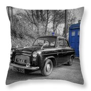 Old British Police Car And Tardis Throw Pillow by Yhun Suarez
