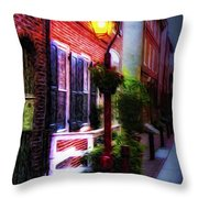 Old City Streets - Elfreth's Alley Throw Pillow by Bill Cannon