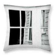 Old Garage Door Throw Pillow by Bonnie Bruno