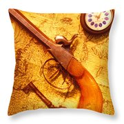 Old Gun On Old Map Throw Pillow by Garry Gay