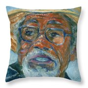 Old Man Wearing A Hat Throw Pillow by Xueling Zou