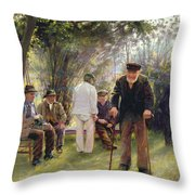 Old Men In Rockingham Park Throw Pillow by Walter Bonner Gash