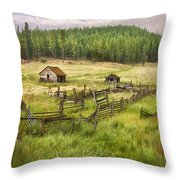 Old Montana Homestead Throw Pillow by Sharon Foster