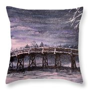 Old North Bridge In Winter Throw Pillow by Jack Skinner