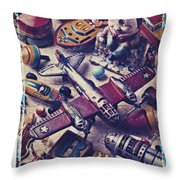 Old Plane And Other Toys Throw Pillow by Garry Gay