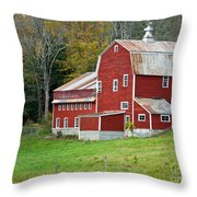 Old Red Vermont Barn Throw Pillow by Edward Fielding