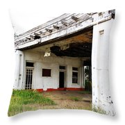 Old Texas Gas Station Throw Pillow by Marilyn Hunt