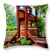 Old Wine Press Throw Pillow by Mariola Bitner
