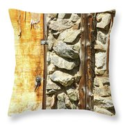 Old Wood Door Window And Stone Throw Pillow by James BO  Insogna