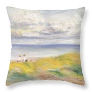On The Cliffs Throw Pillow by Pierre Auguste Renoir