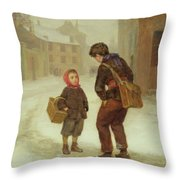 On The Way To School In The Snow Throw Pillow by Pierre Edouard Frere