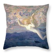 On the Wings of the Morning Throw Pillow by Edward Robert Hughes