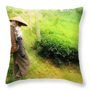 One Day In Tea Plantation  Throw Pillow by Charuhas Images