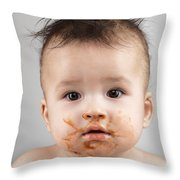One Messy Baby Boy Throw Pillow by Oleksiy Maksymenko