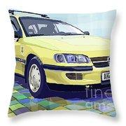 Opel Omega A Caravan Prague Taxi Throw Pillow by Yuriy  Shevchuk