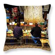 Open Air Lunch Counter Throw Pillow by Mexicolors Art Photography