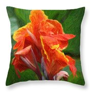 Orange Canna Art Throw Pillow by John W Smith III