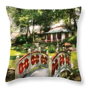 Orient - Bridge - The Bridge To The Temple  Throw Pillow by Mike Savad