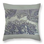 Original Linoleum Block Print Throw Pillow by Thor Senior