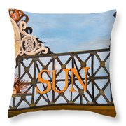 Orioles Scoreboard At Sunset Throw Pillow by John Schuller