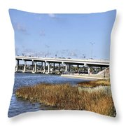 Ormond Beach Bridge Throw Pillow by Deborah Benoit