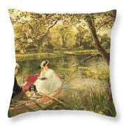 Our Holiday Throw Pillow by Charles James Lewis