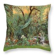 Our Little Garden Throw Pillow by Guido Borelli