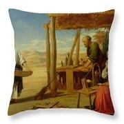 Our Saviour Subject To His Parents At Nazareth Throw Pillow by John Rogers Herbert
