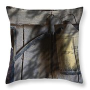 Out In The Barn Throw Pillow by Tom Mc Nemar