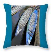 Outrigger Canoe Boats Throw Pillow by Ben and Raisa Gertsberg