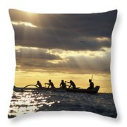 Outrigger Canoe Throw Pillow by Vince Cavataio - Printscapes