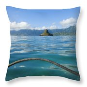 Outrigger On Ocean Throw Pillow by Dana Edmunds - Printscapes
