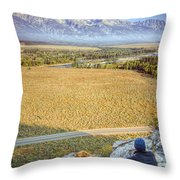 Overlooking the Grand Tetons Jackson Hole Throw Pillow by Dustin K Ryan