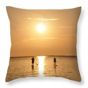 Paddle Boarding Out Of The Sunset Throw Pillow by Bill Cannon