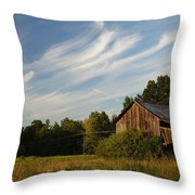 Painted Sky Barn Throw Pillow by Benanne Stiens