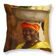 Palenquera In Cartagena Colombia Throw Pillow by Anna Smith