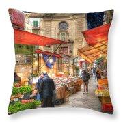 Palermo Market Place Throw Pillow by Juli Scalzi