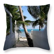 Palm Alley Throw Pillow by Karen Wiles