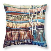 Palm Contractions Throw Pillow by Kerryn Madsen-Pietsch