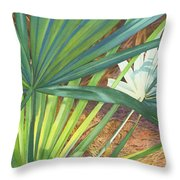 Palmettos and Stellars Blue Throw Pillow by Marguerite Chadwick-Juner