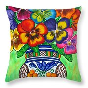 Pansy Parade Throw Pillow by Lisa  Lorenz