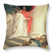 Parable Of The Wise And Foolish Virgins Throw Pillow by Baron Ernest Friedrich von Liphart